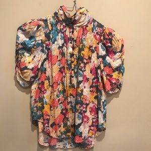 Maeve High Neck Waterfall Colors Blouse Sz 6